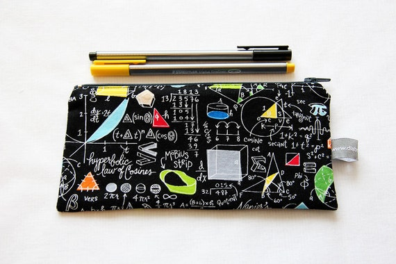 Pencil case - maths - mathematics - molecules - equations - hyperboles - Möbius strip - black - science - gray - colors - pencils -- Maths