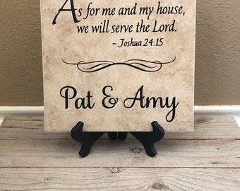 Scripture Sign, Scripture Tile, Scripture Decal, Scripture, Personalized Tile, Momogramm, Religious Gifts, Religious Art, Name Tile