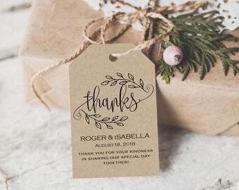 Thank You Tag - Wedding Printable - Gift Tags - Wedding Thank You Tags -  Wedding Favor - Thank You Wedding - Downloadable wedding #WDH301_2