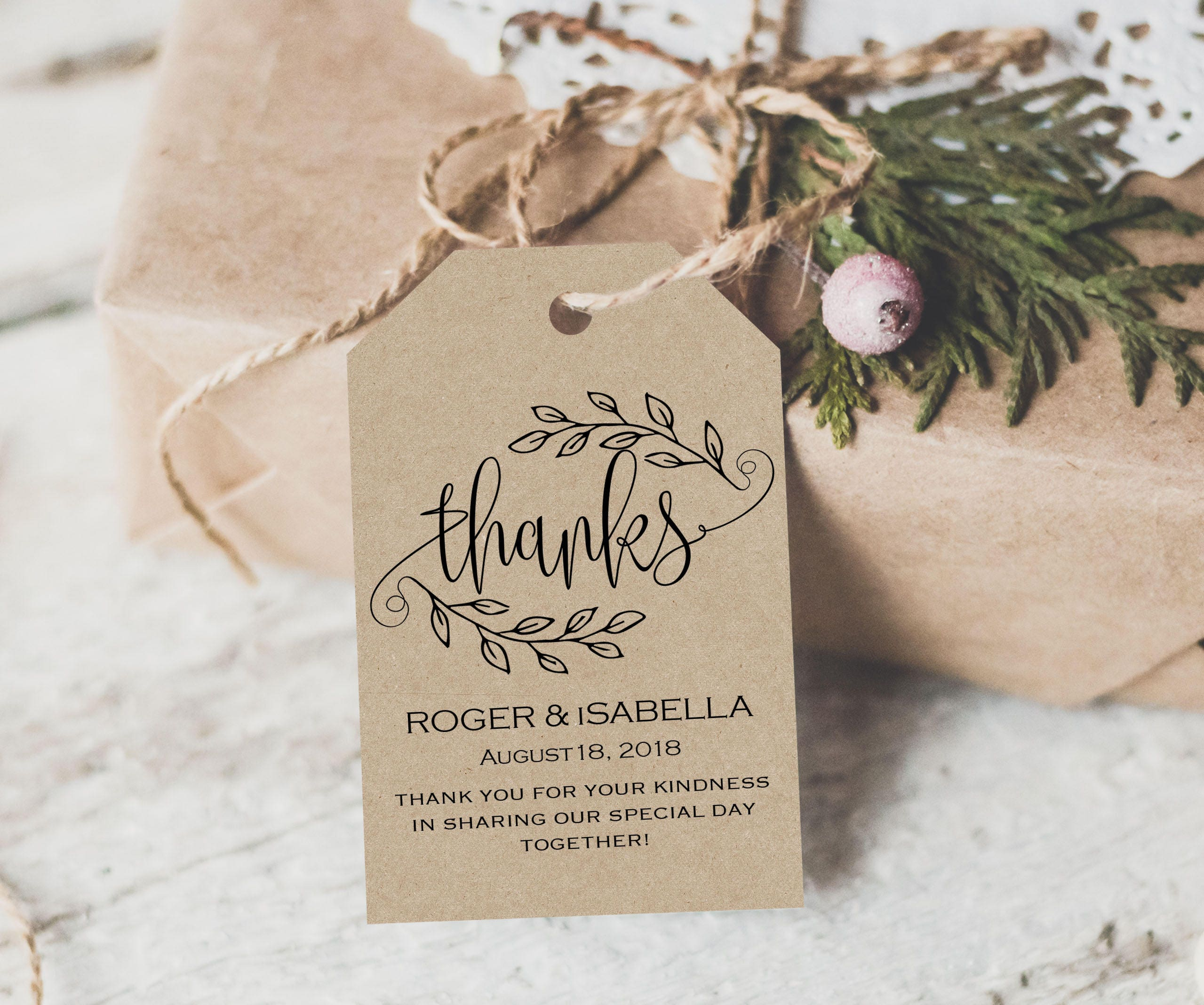 Wedding Thank You Gift Tags: Thank You Tag Wedding Printable Gift Tags Wedding Thank