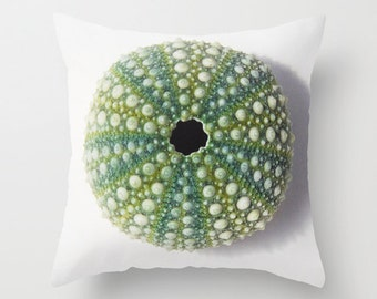 Sea urchin photo pillow, beach outdoor living room, outdoor patio pillow, summer beach decor, beach art furnishing, beach sofa cushion