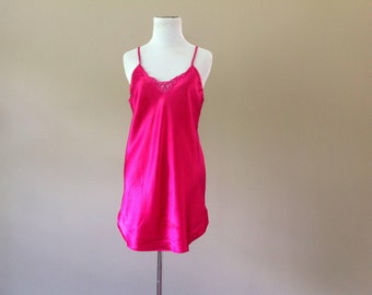 M / Vintage Satin Chemise Dress Slip Nightie Lingerie / Medium / FREE USA Shipping