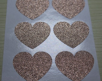 "36pcs - 1.5"" Large Rose Gold Glitter Heart Stickers - Envelope Seal"