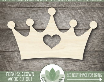 Wood Crown Shape, Princess Crown Wooden Cutout, Blank Wood Shapes, Unfinished Wood Shapes For DIY Projects, Crown Party Decorations