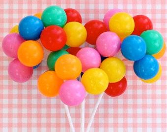 Party Balloon Cupcake Picks (3 Stems), Rainbow Balloon Cake Toppers, Birthday Balloon Picks, Plastic Cake Balloons, Rainbow Party Cake Pick