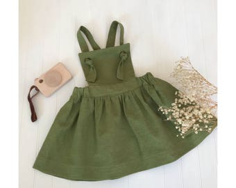 Olive green pinafore dress Girls dresses Juliette dress Girls linen pinafore Baby green dress Girls linen dress Toddler dress Spring dress