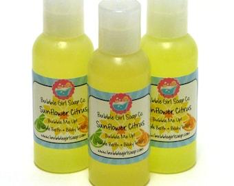 Sunflower Citrus Body Wash Bubble Bath Shower Gel 2 Oz. Travel Size Bubble Me Up
