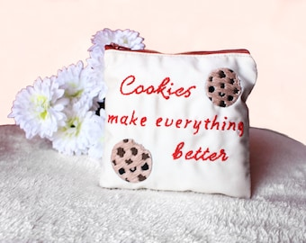 Cookies Embroidered Coin Purse, Cookies Woman Zipped Pouch, Zipper Wallet, Small Women Make Up Bag, Card Holder, Gift for Her