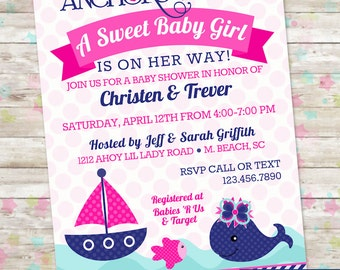 Girl Nautical, Whale Baby Shower Invitation, Whale Baby Shower, Nautical Baby Shower, Anchor Baby Shower, Printable Girl Baby Shower, Invite