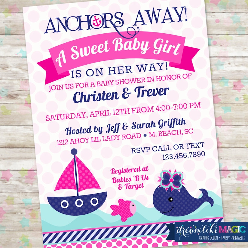 Girl Nautical Whale Baby Shower Invitation Whale Baby