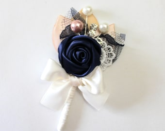 Navy Blue Ivory Blush Rosette Boutonniere/ 12 available/ Country Wedding Lapel Pin/ Handmade Wedding Accessory