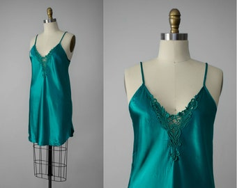 vintage nightgown | emerald green nightgown | slinky nightgown | short nightgown | vintage lingerie