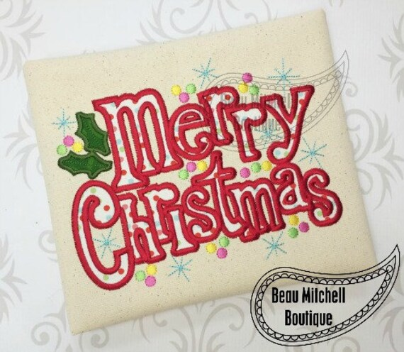 merry christmas holly applique