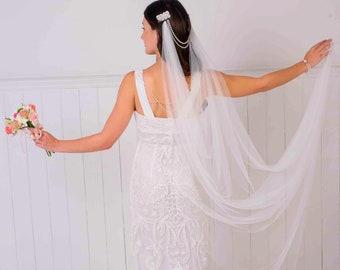 Bridal hair chain, forhead band, drape, brides hair comb, art deco, great gatsby, swarovski, ivory, white, pink, forehead brow band,