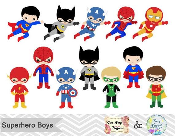 24 Superhero Boys Digital Clipart Superhero Clip Art Boy