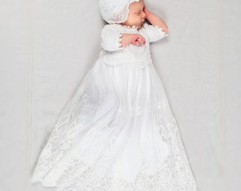 Eliza Newborn Blessing Gown | Newborn Christening Gowns & Dresses | Newborn Cotton and Lace Blessing Gowns