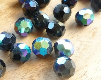 10mm AB Glass Beads - Black AB Glass Beads - Peacock Beads - Iridescent Beads - Earring Beads - Black AB Beads - Faceted Glass Beads