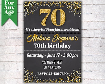 70th Birthday Invitation, Birthday Party Invite, Printable Adult Invitation, Glitter Gold and Black, Any Age, Men or Women Party  - I001