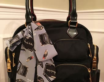 Makeup Print Purse Tie Handbag Scarf Twilly Skinny Neck Scarf Accessory