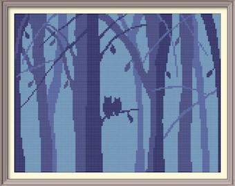Owls into Woods Modern Cross Stitch Pattern PDF Chart Silhouette Cross Stitch