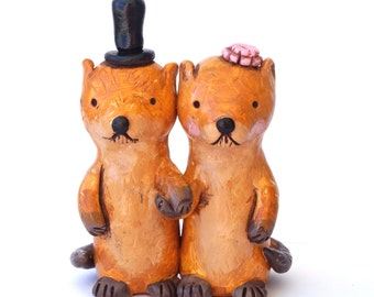Otters in Love wedding cake topper