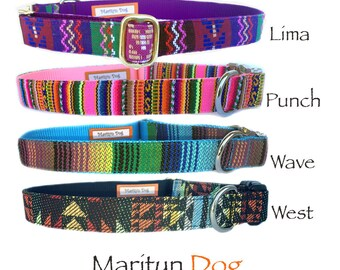 Aztec dog collar Embroidery style dog collar Boy dog collar Purple Pink Turquoise Black Boho dog collar Small dog collar Pet Tribal Navajo