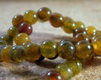 Amber 6 mm AG101 Brown dragon vein agate beads 10