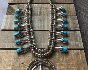 Native American Navajo handmade sterling silver and turquoise squash blossom