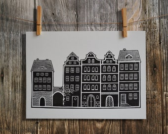 Linocut Print, Tenements Print, Home Decor, Block Print, Relief Print, Handmade, Lino Print, Graphic