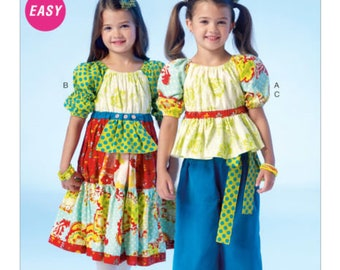 McCall's M7040 Size 6-7-8 Children's Girl's Top, Dress and Pants Sewing Pattern / Uncut FF