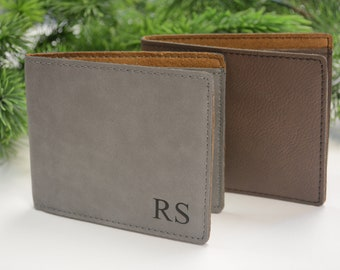 Personalized Wallet, Vegan Leather, Gift for Him, Wallet, Gifts for Men, Groomsmen Gift, Monogram Wallet, Fathers Day Gift, Bi Fold Wallet