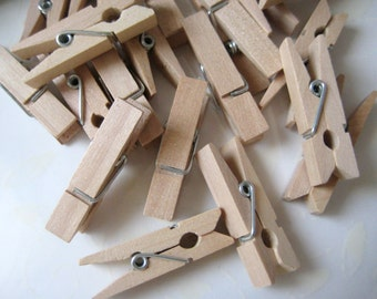 "36 Small Wooden Clothespins for Wedding Favors, Crafting, Gift Tags, Party Favors, Embellishment, 1.25"", 12, 24 or 36 pieces"