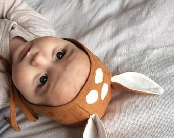 Baby herten linnen motorkap handgemaakte maten tot 2 jaar