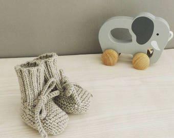 merino Knitted baby booties - merino knit baby - handknit booties - handmade newborn - warm baby booties - newborn knits
