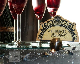 Evil Queen Gothic Cocktail Party Labels - Place Cards - DIY Printable - Inspired by Snow White & The Huntsman