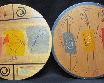 Set of 2 Folk Art People Bird Wood Panels KAKADU Signed Reut Shahar