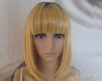 Human hair blend wig with bangs 14'' 612 mixed with light golden blond.