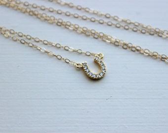 Gold Horseshoe Necklace - Gold Horse Shoe Jewelry - Horseshoe Charm - Simple Dainty Charm Necklace Jewelry - Gold Bridesmaid Gift under 25