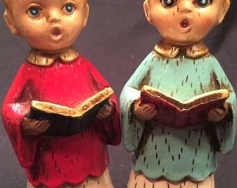 """Christmas - Chalkware - 2 5"""" tall carolers"""