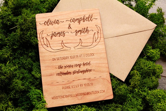 Deer Wedding Invitations: Antler Wedding Invitation Deer Wedding Theme Stag Wedding