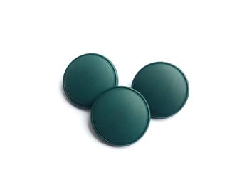 3 Large Teal Green Plastic Vintage Buttons, 27mm