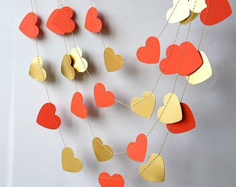 Wedding decorations, Gold & coral heart garland, Bridal shower decorations, Gold wedding, Valentine decor, Paper garland, KMCO-3503