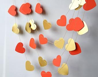 Gold & coral orange heart garland, Wedding garland, Coral garland, Wedding decor, Gold wedding, Paper garland, Bridal shower, KMCO-3503