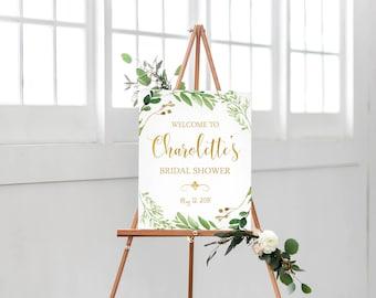 Welcome To Bridal Shower Sign Printable-Leaf Wreath Bridal Shower Print-Green Leaves Gold Bridal Shower Sign-Digital Wedding Print Bridal