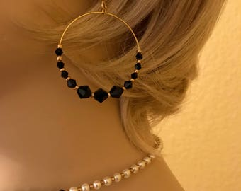 Swarovski Crystal Earrings: Single Gold Hoop with Black Crystals