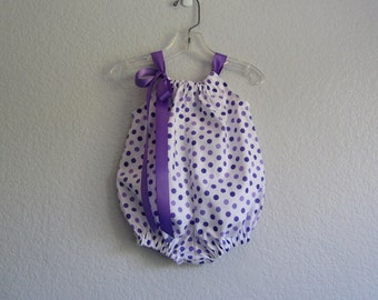 Purple Romper for Baby Girls - White Bubble Romper with Purple Polka Dots - Baby Girls Purple Sun Suit - Size Nb, 3m, 6m, 9m, 12m or 18m