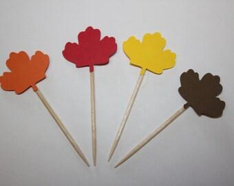 24 mini food picks -  Fall Maple Leaf