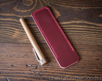 Pen Sleeve size large - hand stitched Horween leather - red