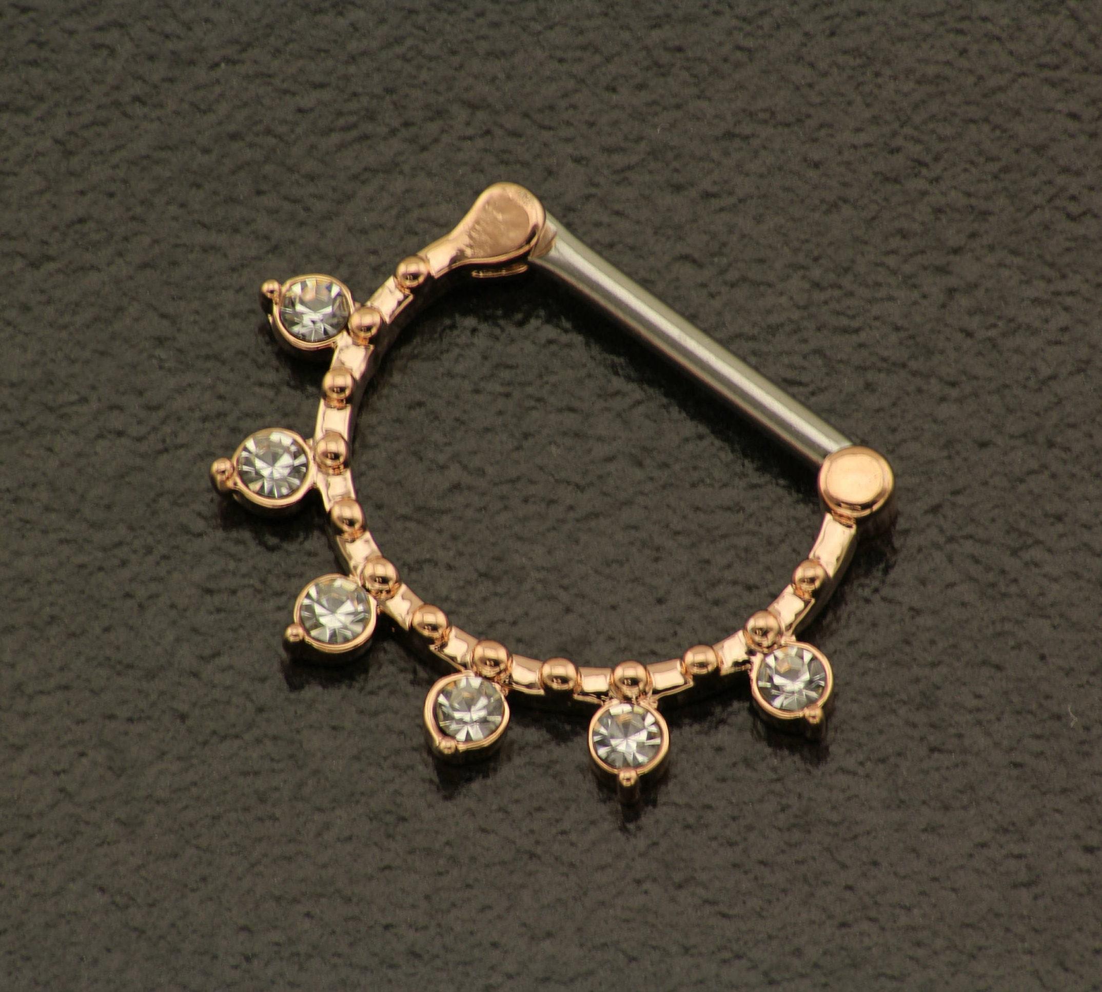 Rose Gold Nipple Bar Crystal Nipple Jewelry 14GA Nipple