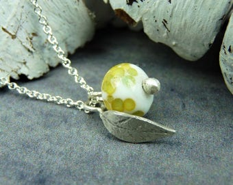 Glass nature pendant, silver leaf necklace, eco friendly jewellery, unusual jewelry, unique acccessories, gifts for her, yellow green white